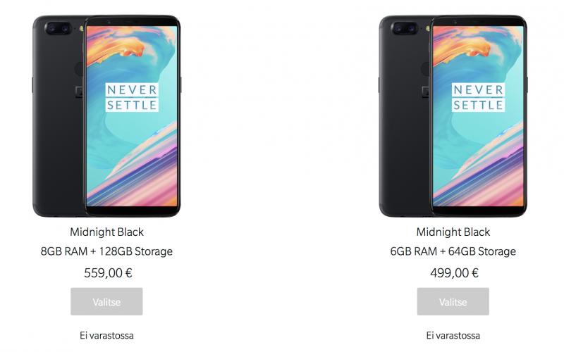 OnePlus 5T on myyty loppuun OnePlussan omassa verkkokaupassa.