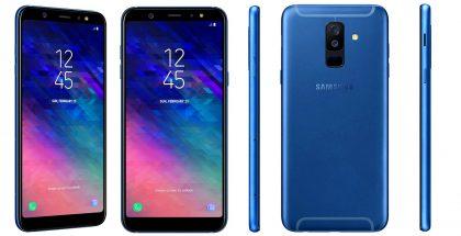 Samsung Galaxy A6+ sinisenä.