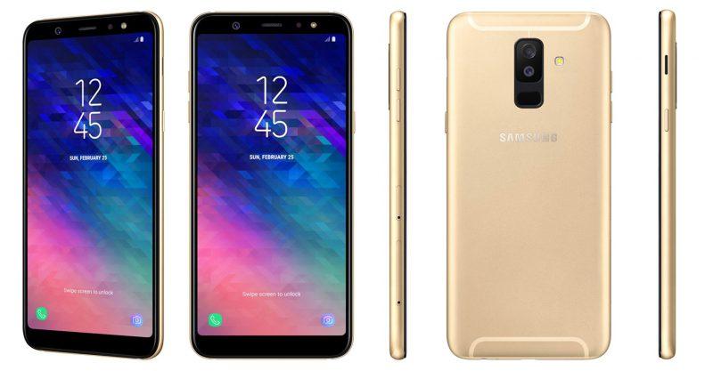 Samsung Galaxy A6+ kultaisena.