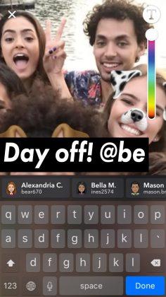 Jatkossa Snapchatissa voi julkaisuissa myös mainita muita käyttäjiä niin, että nämä saavat siitä ilmoituksen.