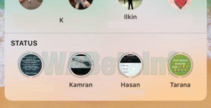 WhatsAppin widget-sovellus Tänään-näkymässä kertoo nyt myös Tila-julkaisuista. Kuva: WABetaInfo.