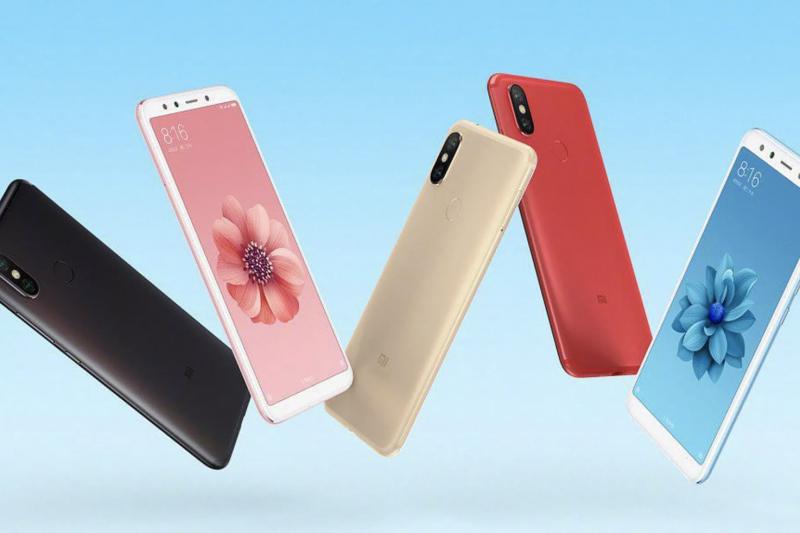 Xiaomi Mi 6X eri värivaihtoehtoina.