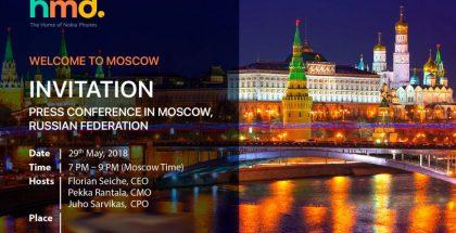 HMD Globalin lähettämä kutsu Moskovassa järjestettävään Nokia-puhelinten julkistustilaisuuteen.