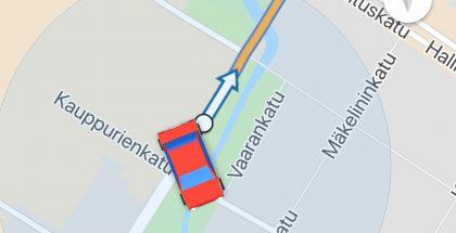 Google Mapsissa navigointinuolen voi vaihtaa nyt autoon.