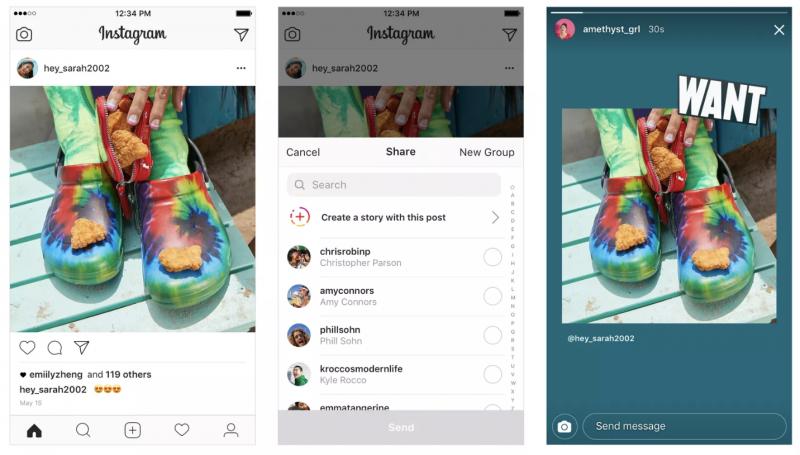 Instagram Stories -tarinoihin voi nyt lisätä omia tai muiden Instagram-julkaisuja.