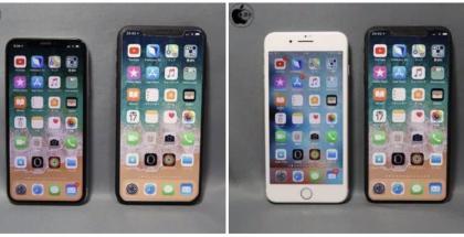 """Karkeasti muokattu """"iPhone X Plus"""" esitettynä nykyisen iPhone X:n sekä iPhone 8 Plussan rinnalla."""
