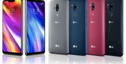 LG G7 ThinQ:n eri värivaihtoehdot. Suomessa myynti keskittyy mustaan ja siniseen.