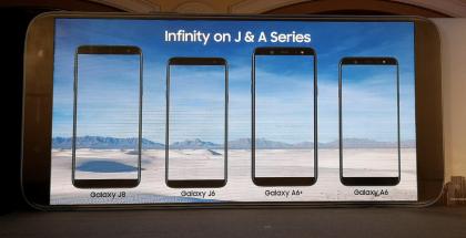 Samsungin Galaxy J6 ja J8 täydentävät Galaxy A6:n ja A6+:n rinnalla edullisempien laajalla kuvasuhteella varustettujen älypuhelinten valikoimaa. Kuva: BGR India / Twitter.