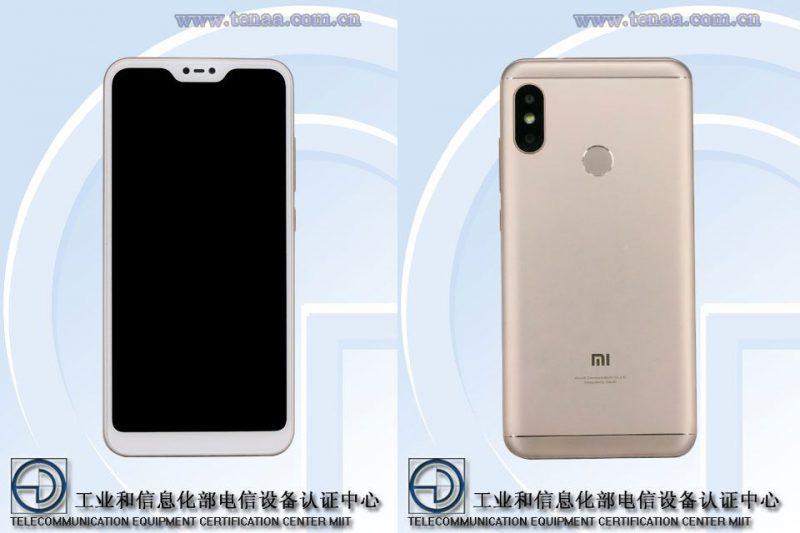 Xiaomin mahdollinen Redmi 6 sisältää lovinäytön, muttei kuitenkaan kovin kapeita näyttöreunuksia. Takana kaksoiskamera sekä sormenjälkilukija.