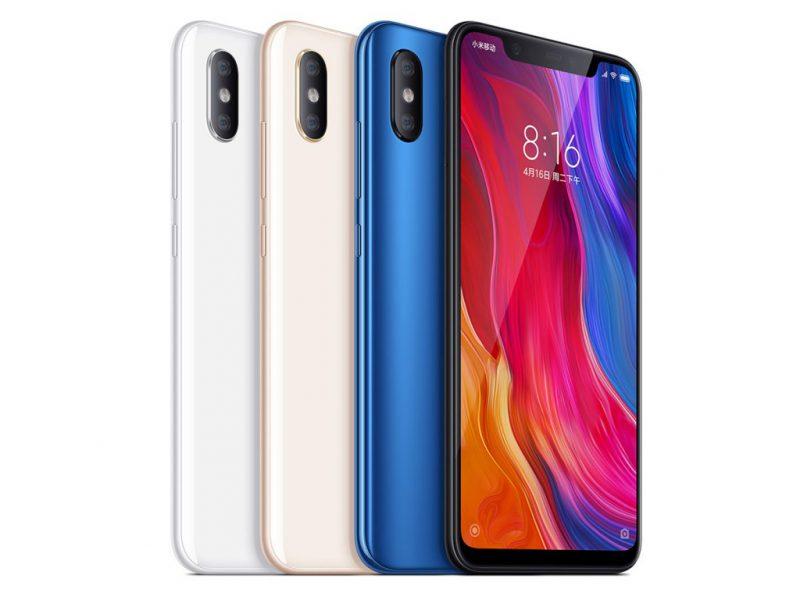 Xiaomi Mi 8:n värivaihtoehdot.