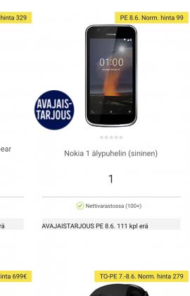 Nokia 1 -älypuhelimia on tarjolla 111 kappaleen erä vain 1 euron hintaan.