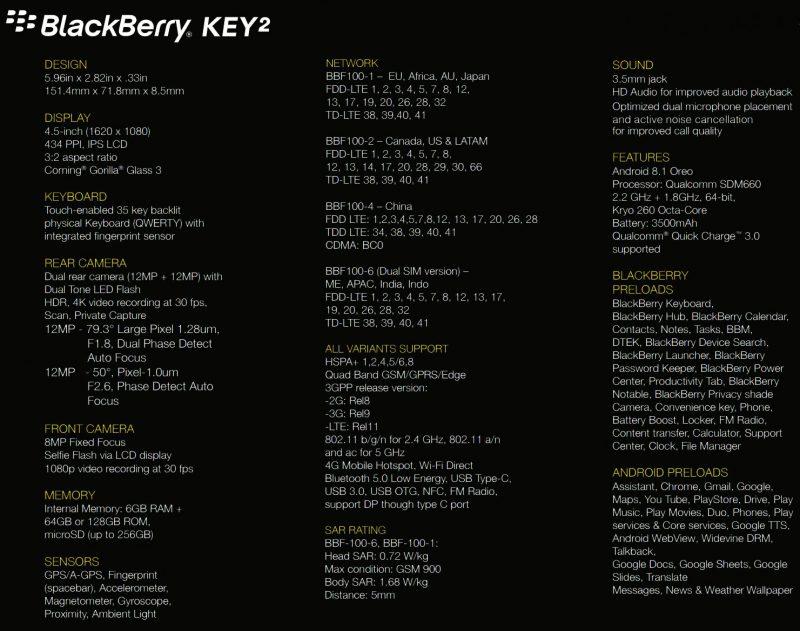 Evan Blassin julkaisema kuva BlackBerry Key2:n teknisistä tiedoista.