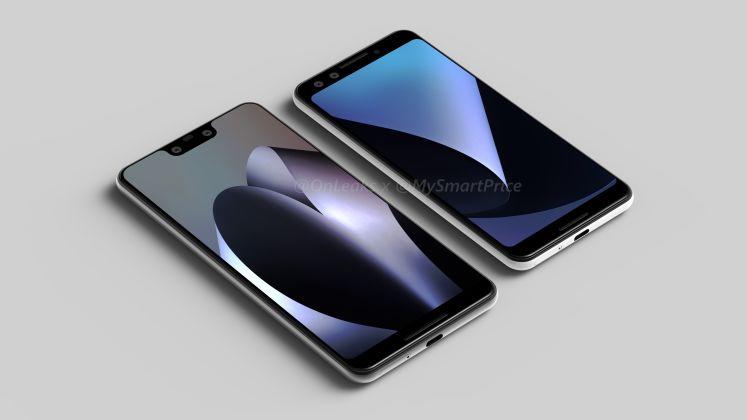 Pixel 3 XL:ssä lovi näytön yläreunassa, pienempinäyttöisessä Pixel 3:ssa ei.