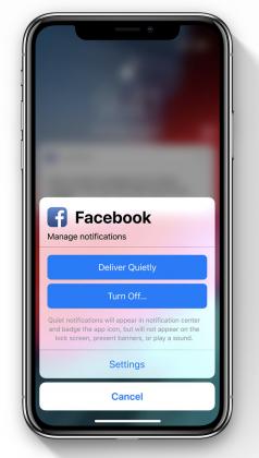 iOS 12 mahdollistaa sovellusten tulevien ilmoitusten siirtämisen vain ilmoituskeskukseen tai perumisen kokonaan aiempaa helpommin. Esimerkkikuvaan uudistuksesta Apple on poiminut tietenkin Facebookin.