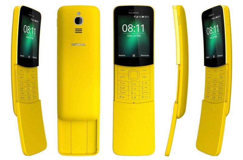 Nokia 8110 4G eri kuvakulmista.