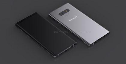 Sormenjälkilukija on Galaxy Note9:ssä siirretty kamera-alueen laidasta sen alapuolelle. Kuva: OnLeaks / 91mobiles.