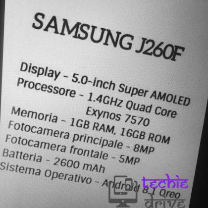 Samsungin Android Go -puhelimeen odotetut tekniset ominaisuudet.