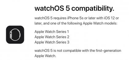 watchOS 5 pudottaa tuen alkuperäiselle Apple Watchille.
