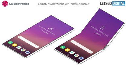 LG:n taittuva älypuhelin patenttikuvissa reunuksettomalla näytöllä.
