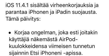 Näin Apple kertoo iOS 11.4.1:n uudistuksista.