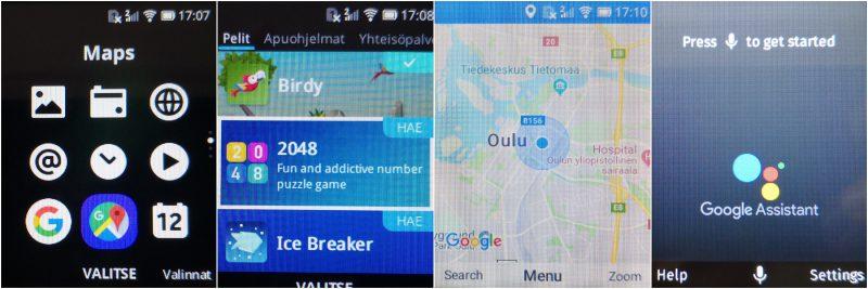 Vasemmalta oikealle: 8110 4G:n sovellusvalikko, sovelluskaupan pelivalikoima, Google Maps ja Google Assistant.