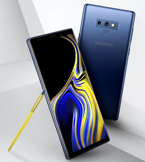 Samsung Galaxy Note9 ja keltainen S Pen -kynä Evan Blassin Twitterissä julkaisemassa kuvassa.