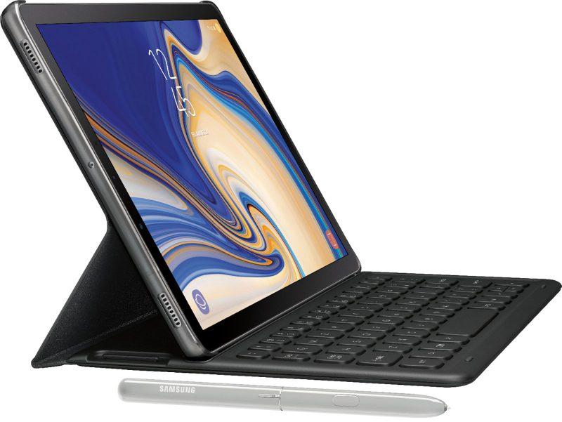 Samsung Galaxy Tab S4 näppäimistön ja kynän kera Evan Blassin Twitterissä julkaisemassa kuvassa.