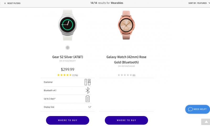 Galaxy Watch nähtiin sivuilla vain osana valikoimaesittelyä. Tarkempia tietoja ei paljastunut.