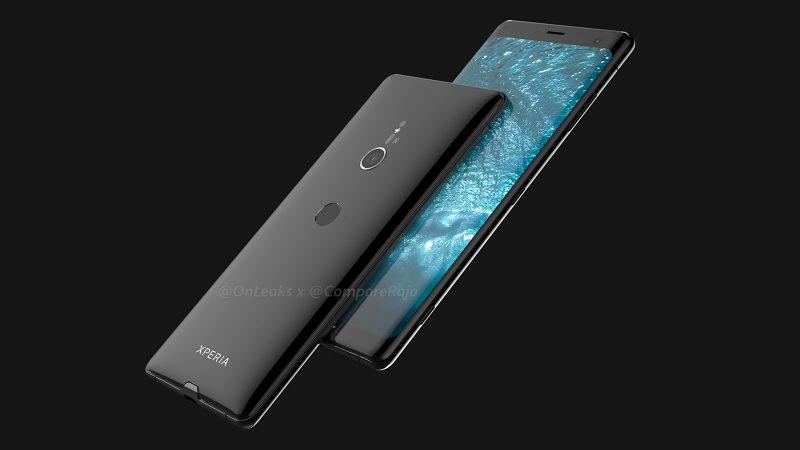 Sony Xperia XZ3:n design OnLeaksin yhdessä CompareRaja-sivuston kanssa julkaisemassa kuvassa.