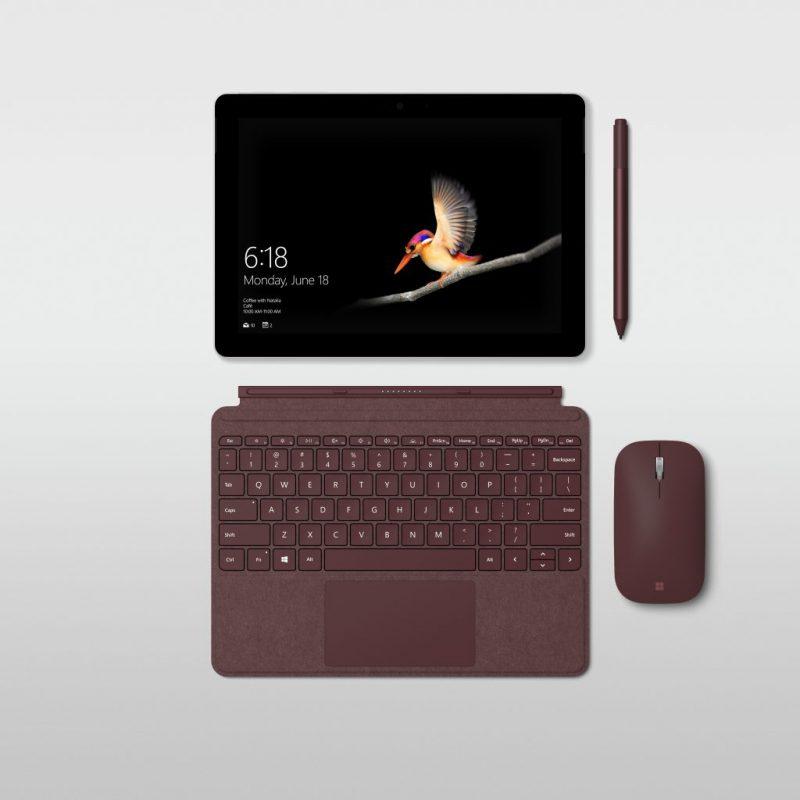 Surface Go ja sille myytäviä lisävarusteita.