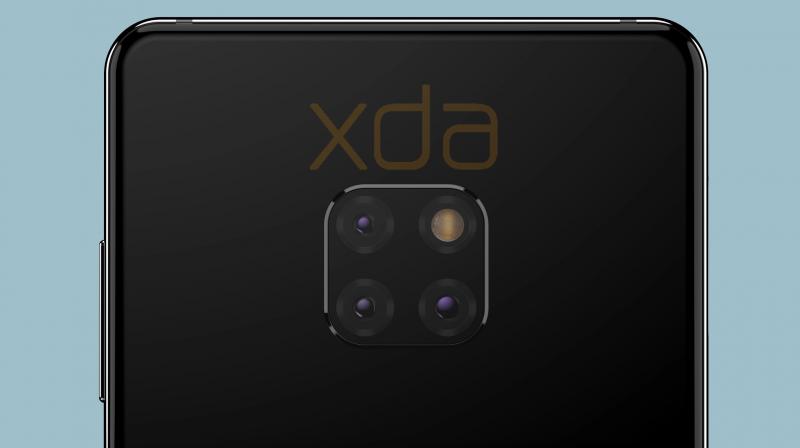 Huawei Mate 20:n kolmoistakakamera xda-developers-sivuston mallinnetussa kuvassa.
