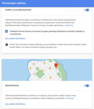 Pelkkä alemman sijaintihistorian poisto käytöstä ei lopeta Googlelta kaikkien sijaintitietojen tallentamista. Jos ei halua tallentaa sijaintiaan lainkaan, pitää poistaa käytöstä myös verkko- ja sovellustoiminnan tallentaminen.