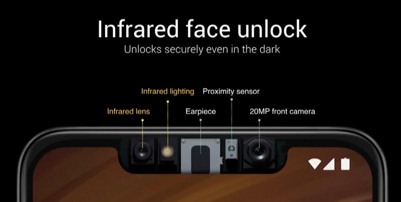 Pocophone F1 on varustettu infrapunasensorin voimin toimivalla kasvojentunnistuksella.