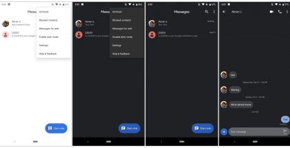 Android Messages -sovelluksen tumma teema. Kuva: 9to5Google.