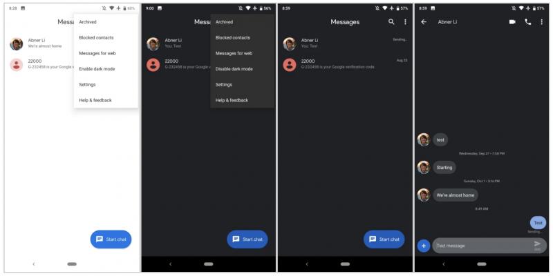 Android Messages -sovelluksen tumma teema. Kuva: 9to5Google.