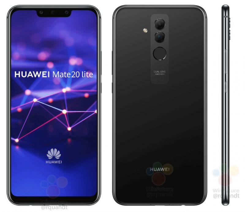 Huawei Mate 20 Lite mustana värinä WinFuture.den kuvassa.