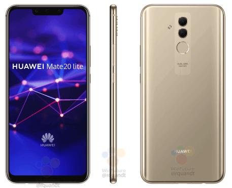 Huawei Mate 20 Lite kultaisena värinä WinFuture.den kuvassa.