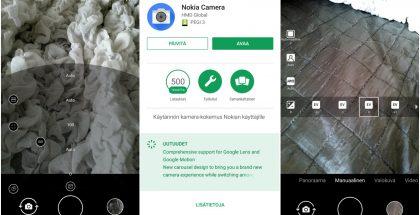 Vasemmalla Ammattilainen-nimellä suomeksi kulkeva Pro Camera -tila manuaalisäädöillä. Päivityksen jälkeen Nokia 8 -puhelimessa Pro Camera -tilaa ei enää ole (kuva oikealla). Kyse on ilmeisesti virheestä.