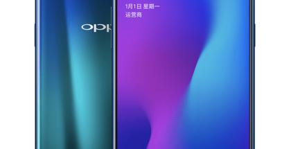 """Oppo R17:ssä on """"vesipisaralovi"""" näytön yläreunassa."""