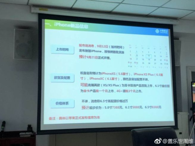 Kuva väitetysti China Mobilen esityksestä uusista iPhoneista.