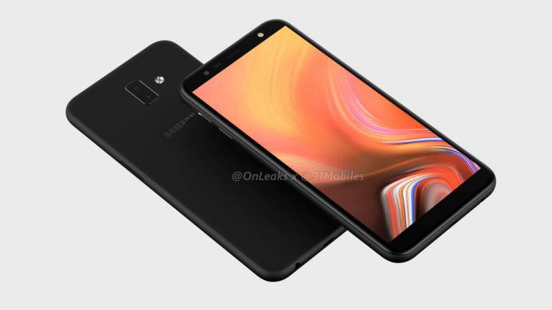 Samsung Galaxy J6 Prime / J6+ aiemmin OnLeaksin yhdessä 91mobiles-sivuston kanssa julkaisemassa designia esittelevässä kuvassa.