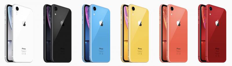 iPhone XR:n värivaihtoehdot.