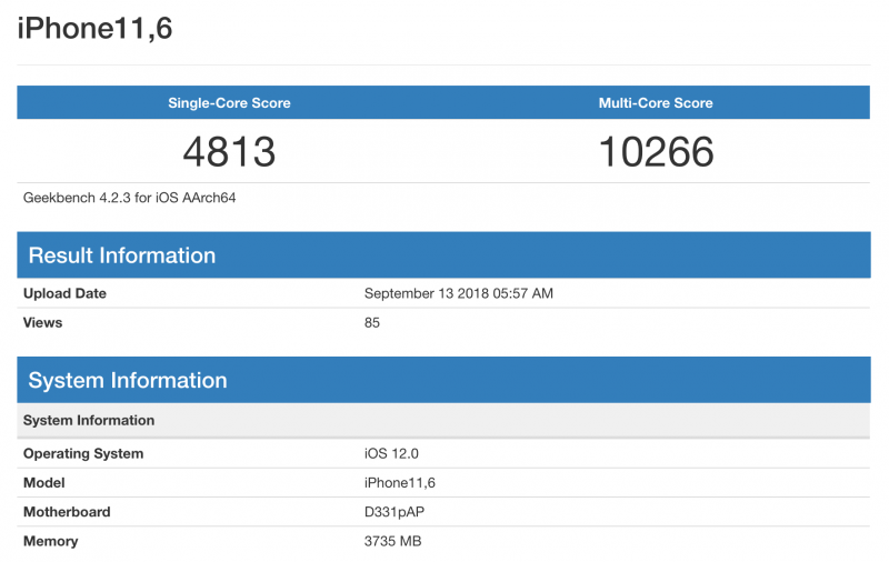 iPhone XS Max GeekBench.