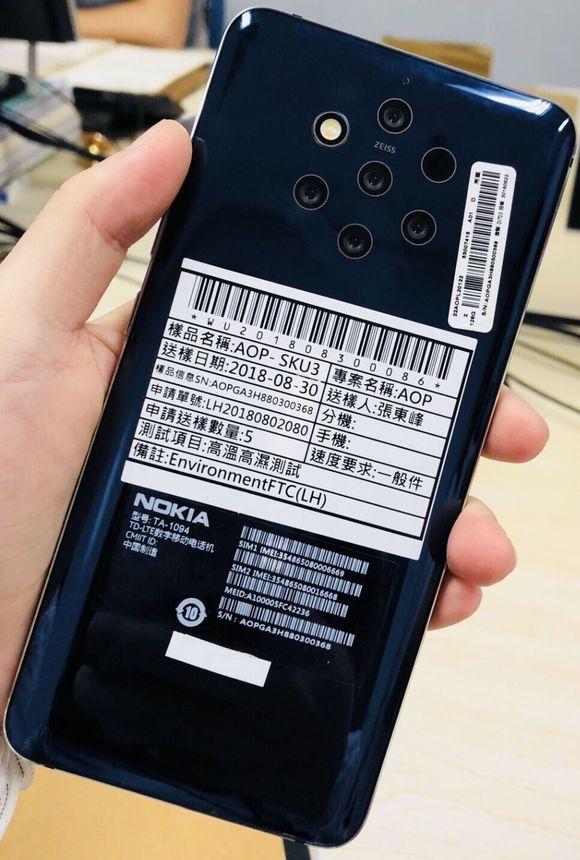 Nokia 9:een on tulossa viisi takakameraa.