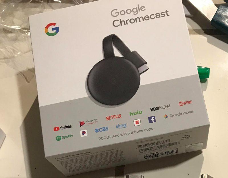 Googlen kolmannen sukupolven Chromecastin myyntipakkaus. Reddit-käyttäjä GroveStreetHomien julkaisema kuva.