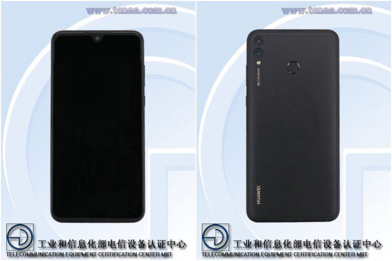 Tuleva Huawei-puhelinmalli Kiinan TENAA-viranomaisen kuvissa.