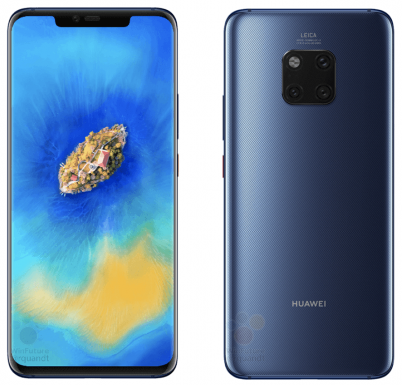 Huawei Mate 20 Pro sinisessä värissä aiemmassa WinFuture.den vuotamassa kuvassa.