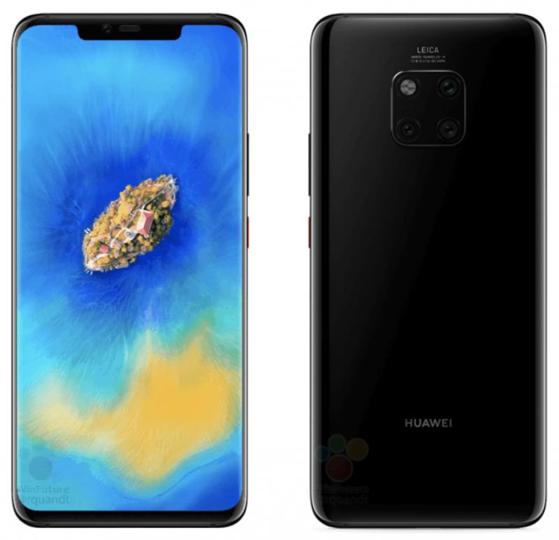 Huawei Mate 20 Pro mustassa värissä aiemmassa WinFuture.den vuotamassa kuvassa.