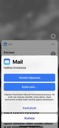 iOS 12:ssa suoraan ilmoituksista pääsee muuttamaan sovelluksen ilmoitusasetuksia.