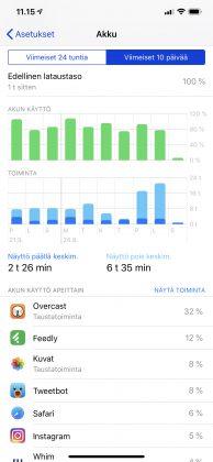 Akkutiedot iPhone XS Maxista.